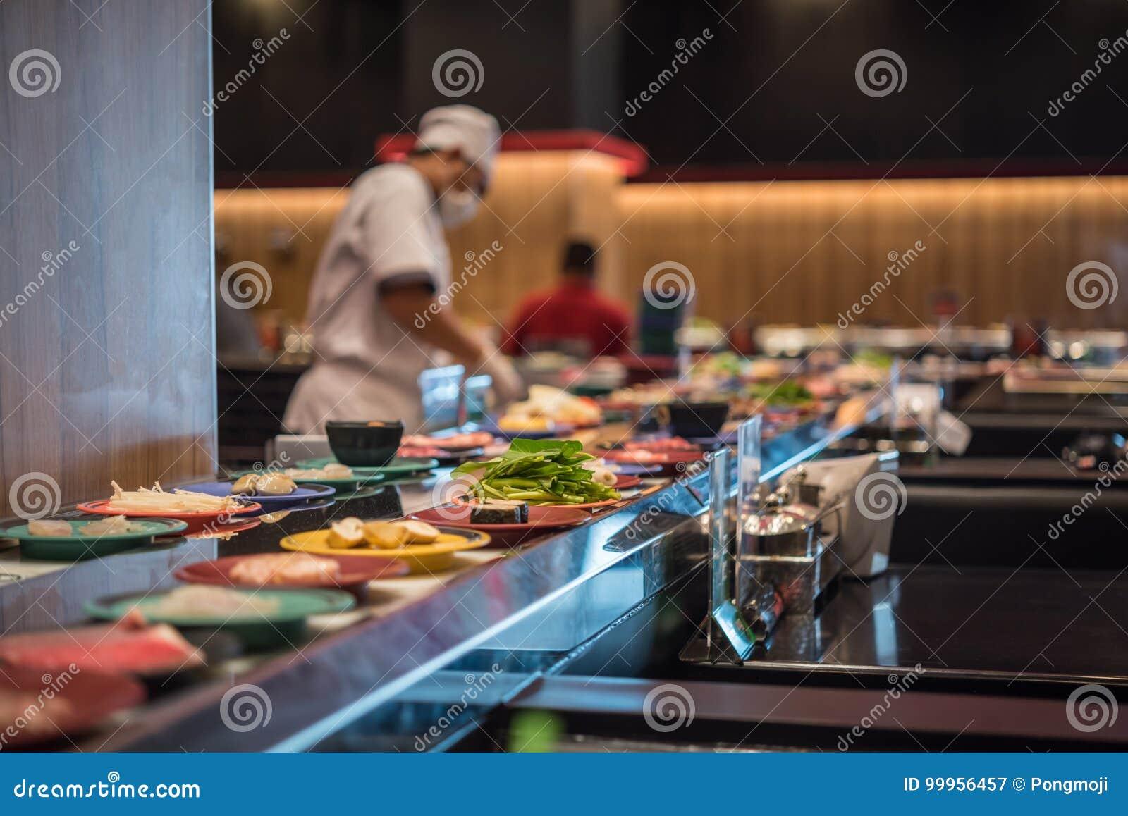 Japonia restauraci paska karmowy bufet i szef kuchni