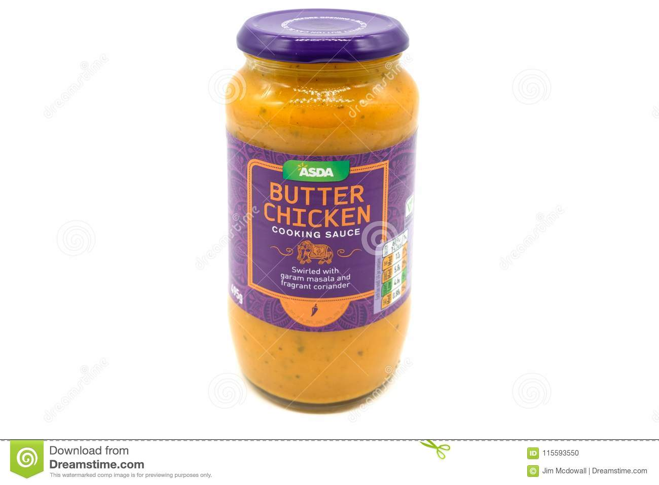 A Jar Of Asda Butter Chicked Sauce In A Glass Recyclable