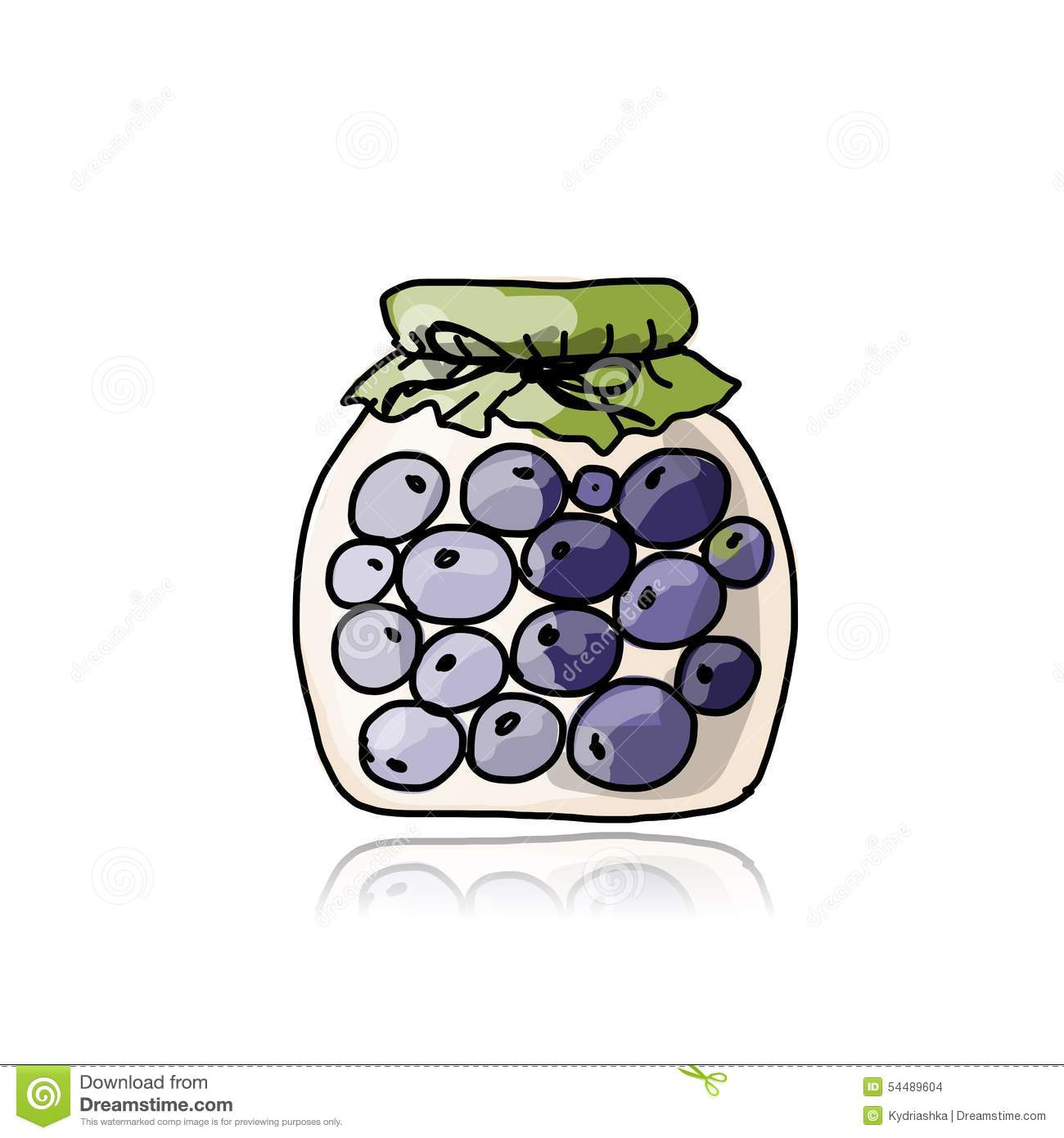 Jar With Blueberry Jam, Sketch For Your Design Stock ...