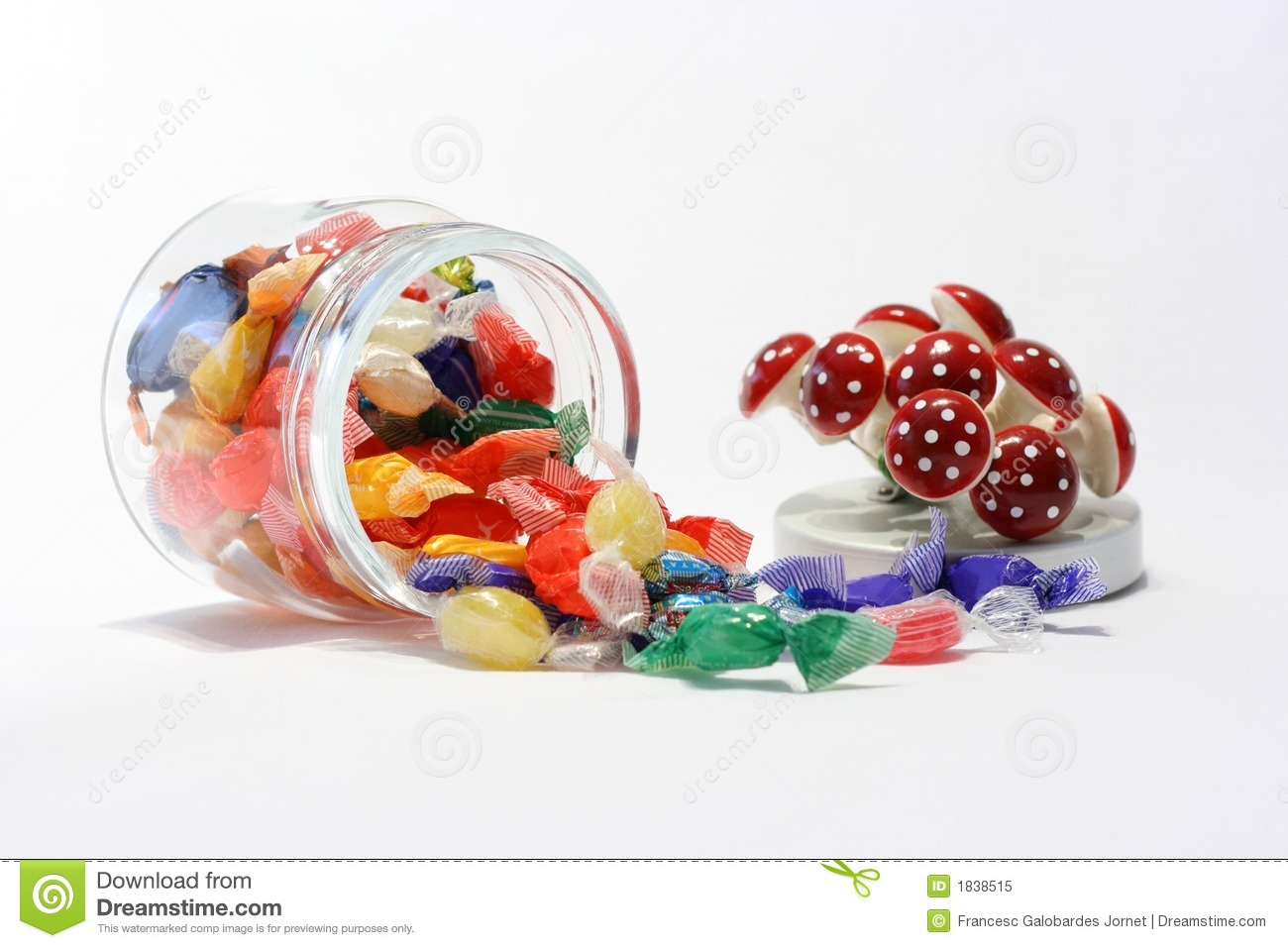 Jar of candy with decorative lid