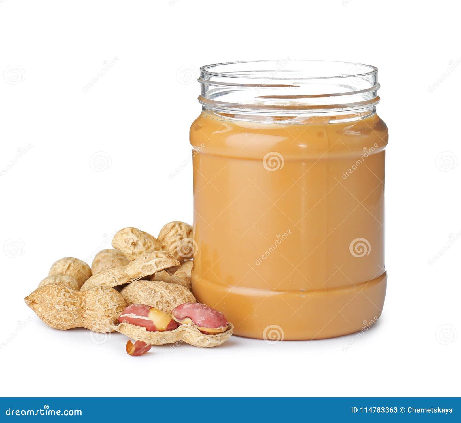 Jar with creamy peanut butter