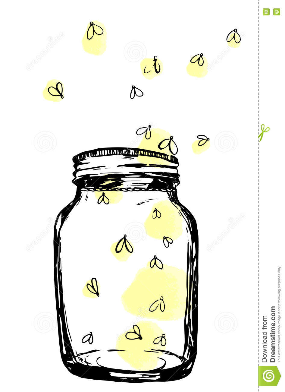 Jar With Fireflies. Hand-drawn Artistic Illustration For ...
