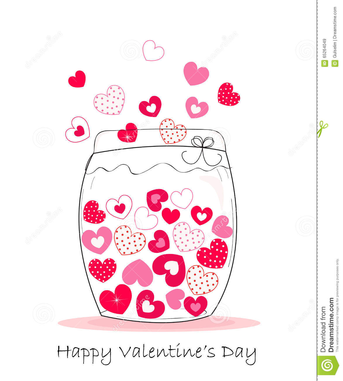 Jar Of Hearts Happy Valentine S Day Vector Background Stock Vector