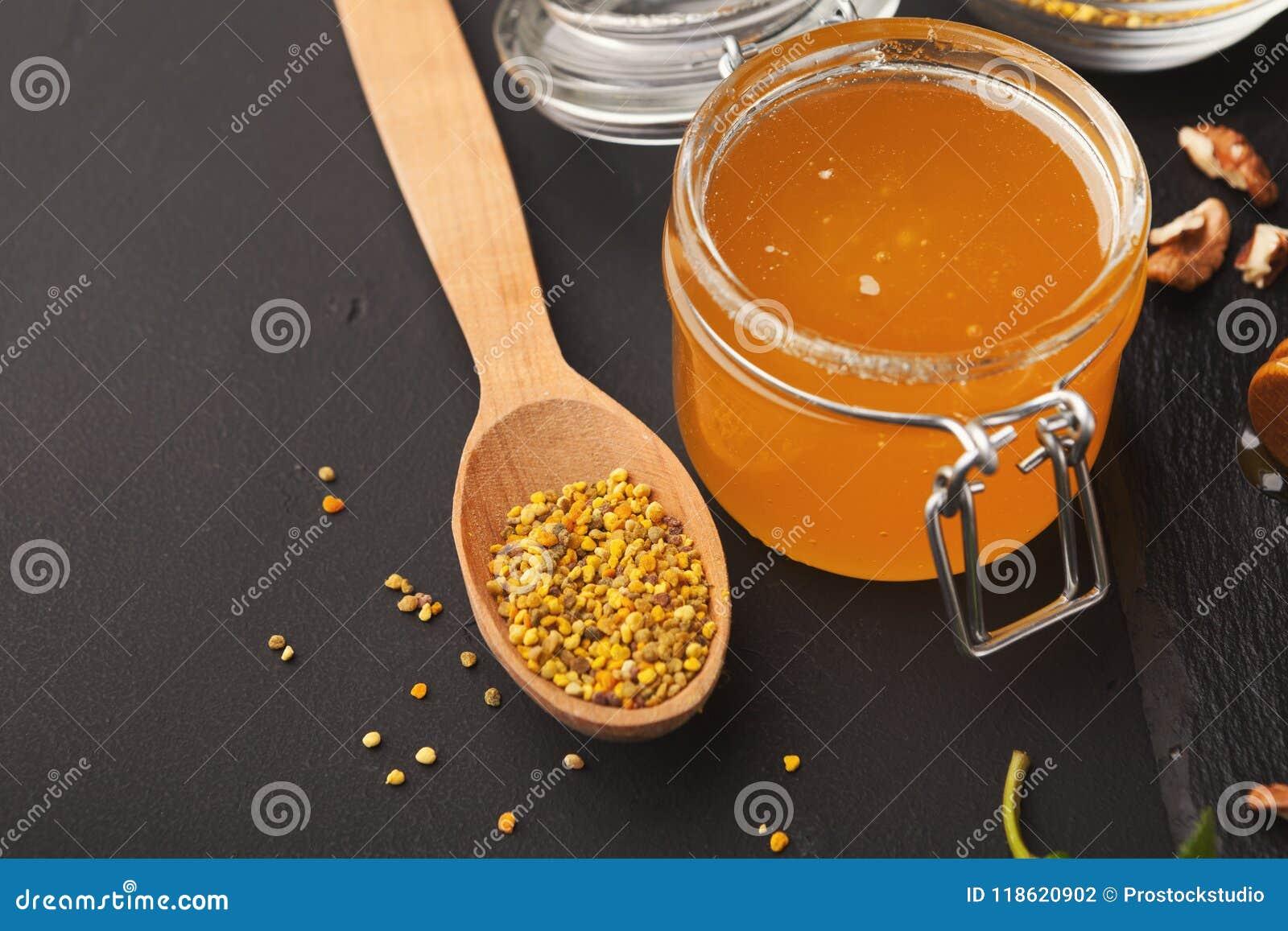 Jar Of Honey On Wooden Background Stock Photo Image Of Fructose
