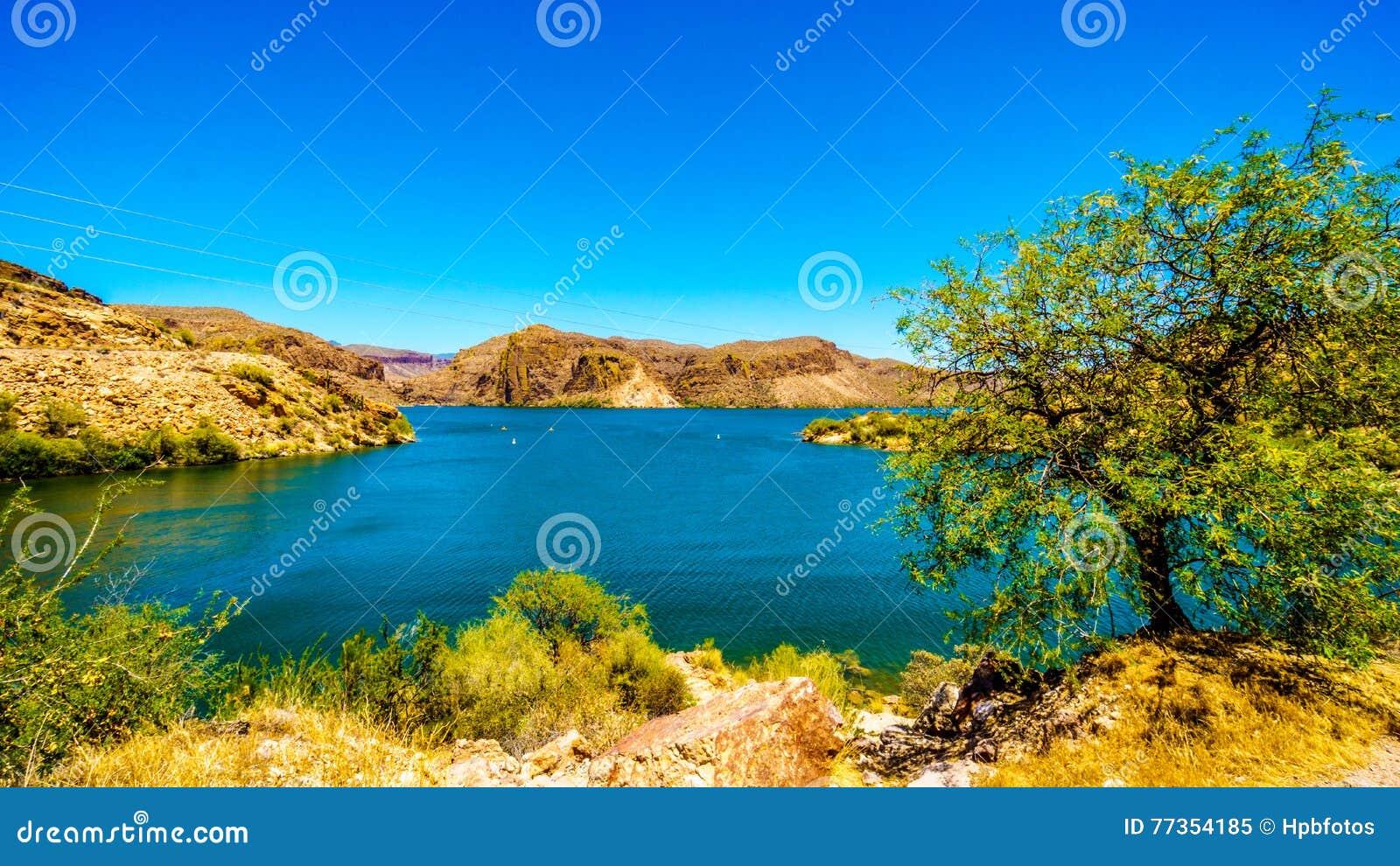 Jar jezioro i Pustynny krajobraz Tonto las państwowy