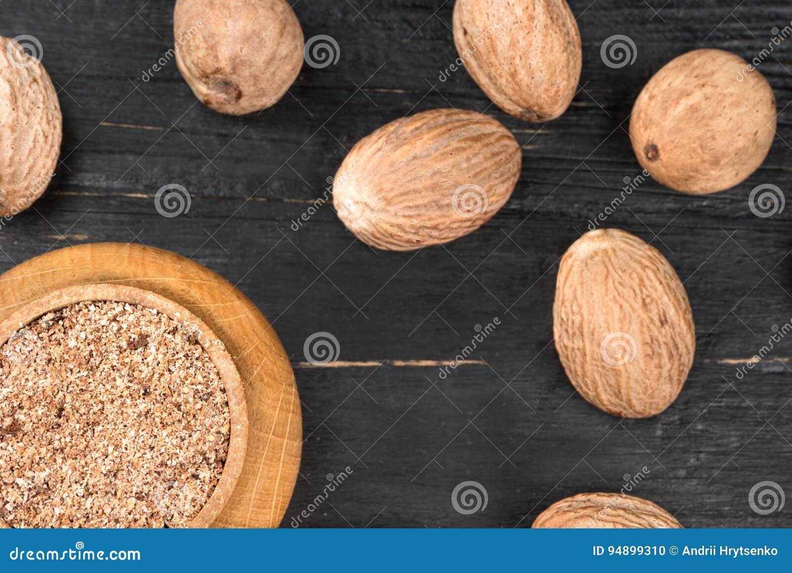 Jar with nutmeg powder