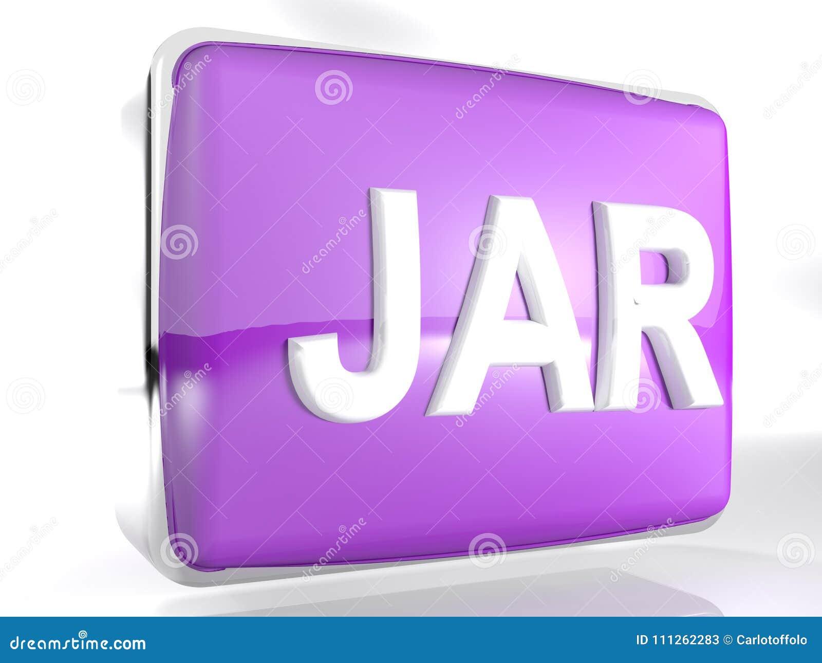 JAR Purple Box Icon - 3D Rendering Stock Illustration