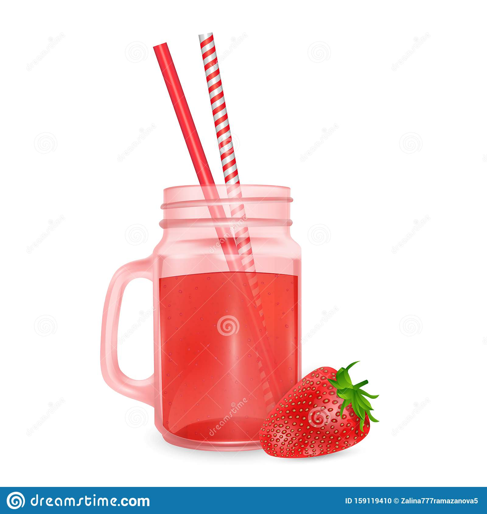 The jar of smoothies of red strawberry and striped straw for cocktails isolated on white background for advertising your products