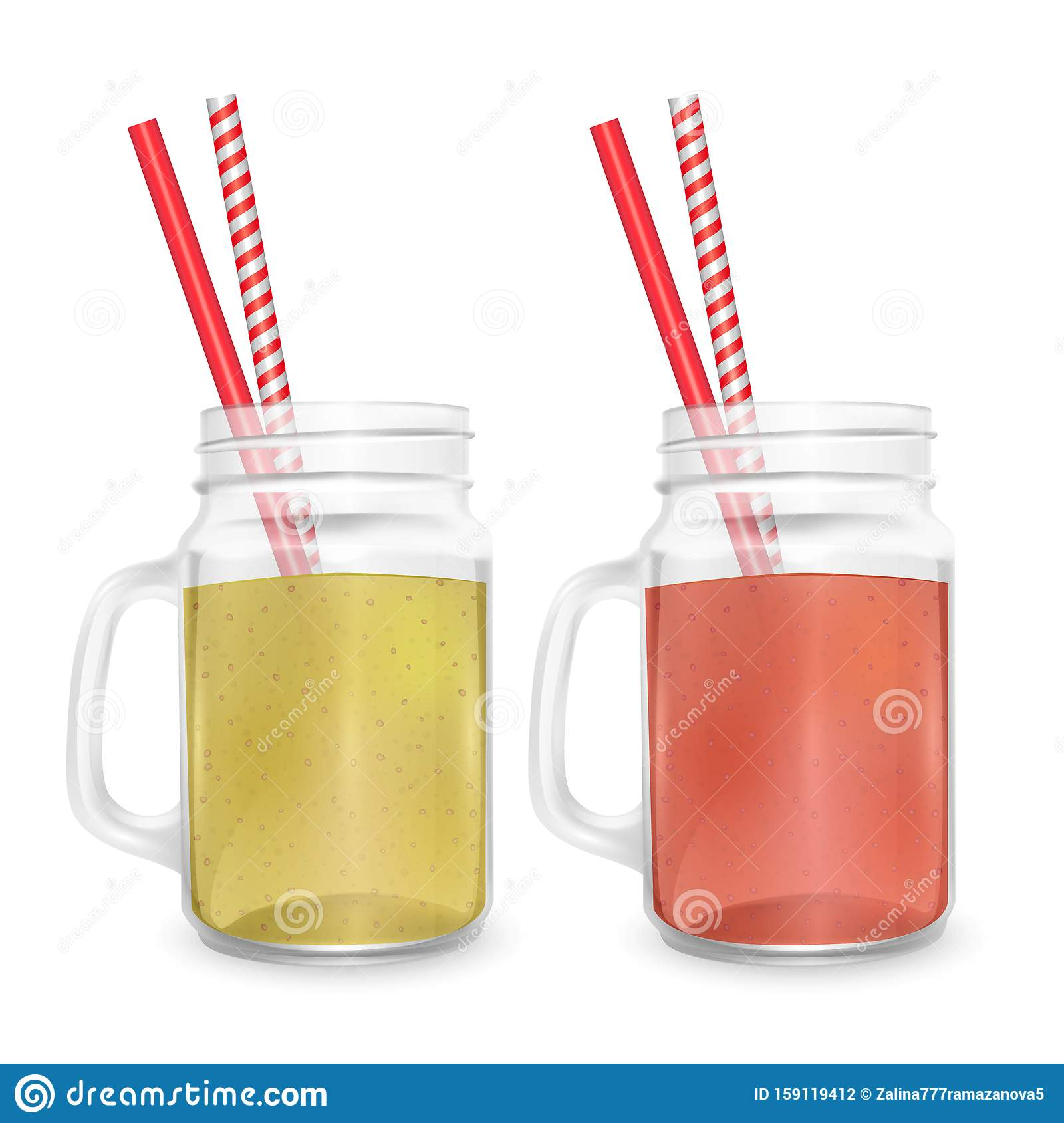 The jar for smoothies with striped straw for cocktails isolated on white background for advertising your products drinks in