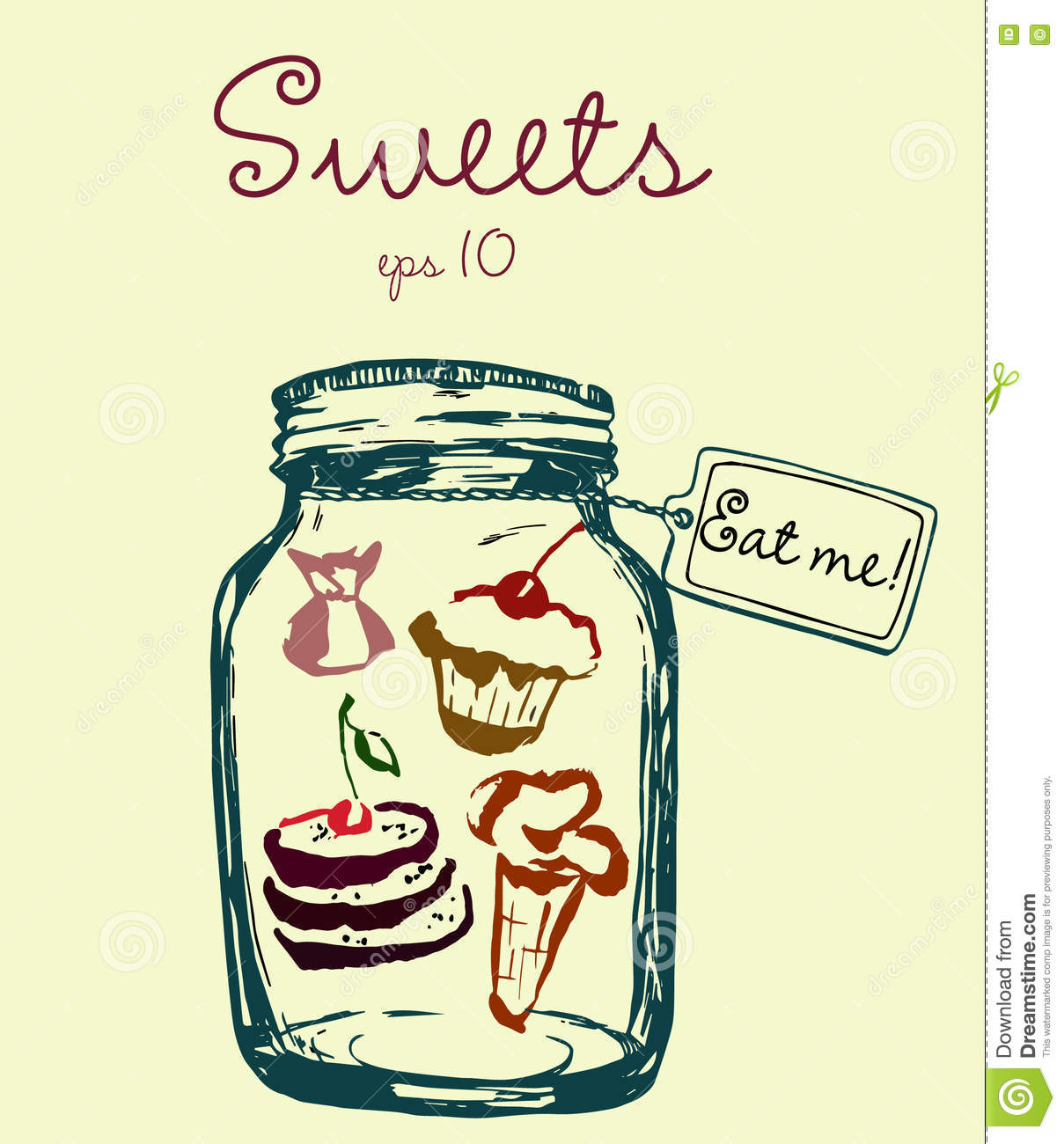 Jar With Sweets And Label Eat Me Ice Cream Sweets Stock Vector
