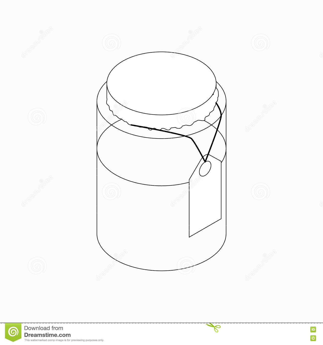 Jar With Tag Icon, Isometric 3d Style Stock Vector