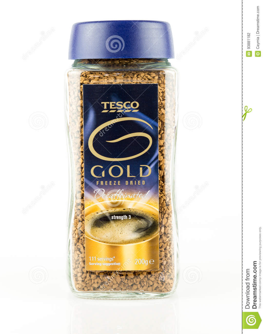 Jar Of Tesco Gold Freeze Dried Decaffeinated Instant Coffee