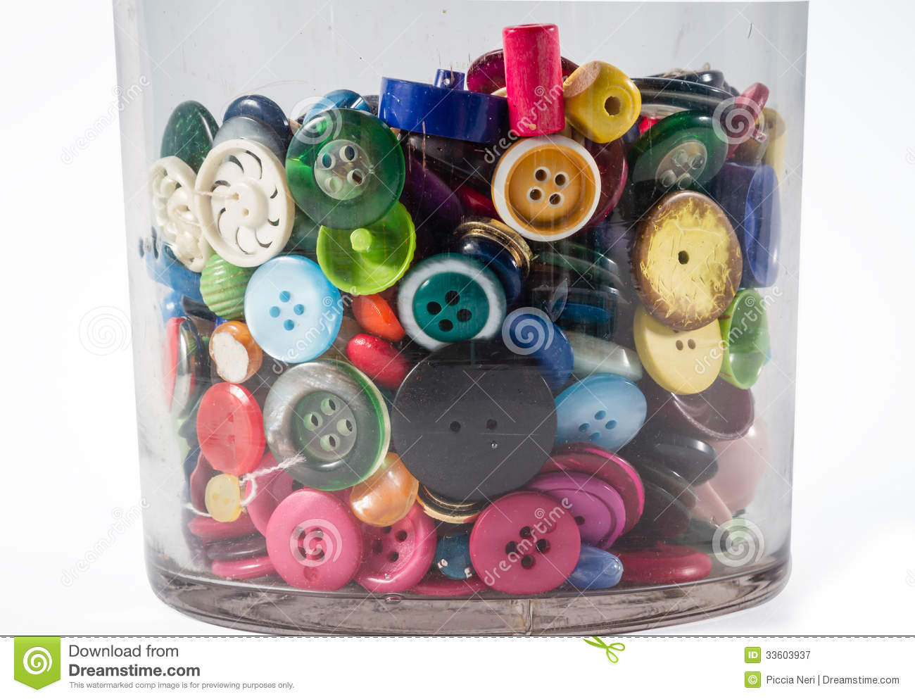 Jar Of Vintage Buttons Colorful Photography