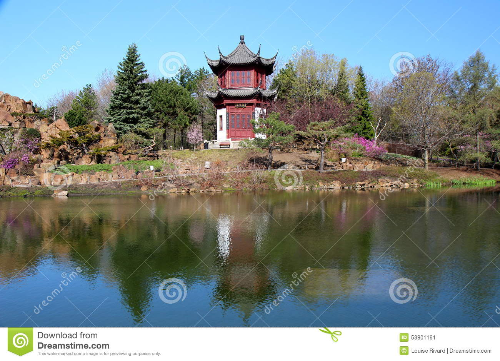Jardín chino en la primavera