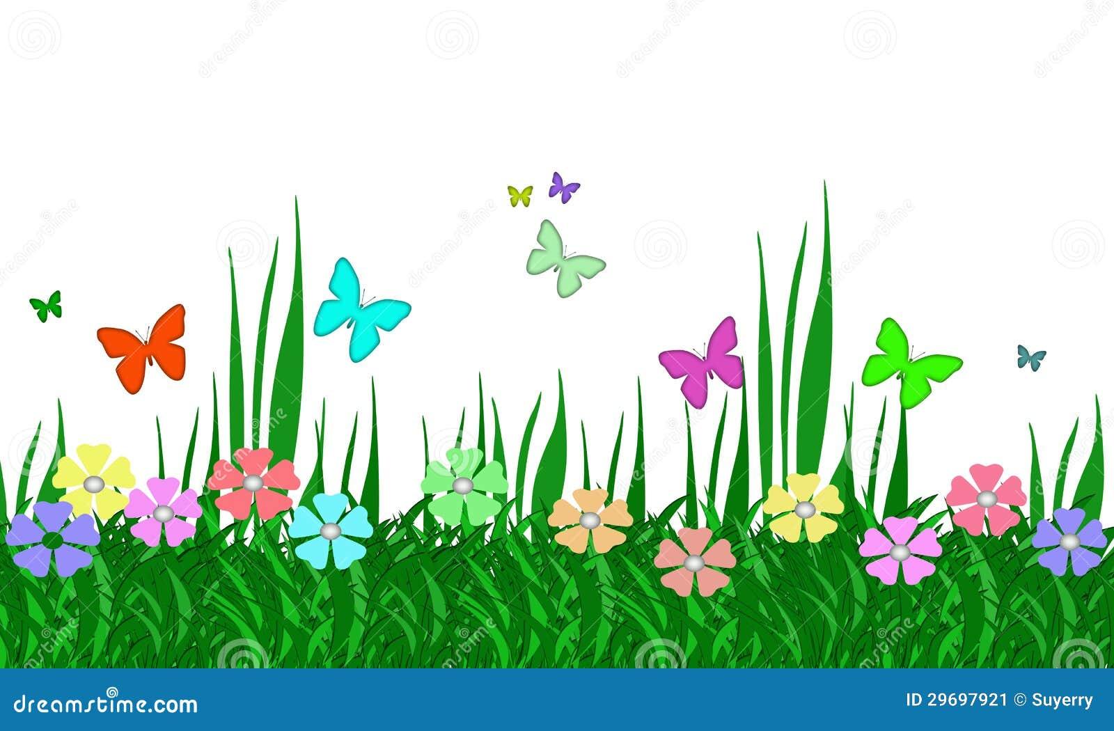 Imagen de archivo: Jardín de flores, hierba, y mariposas en colores ...
