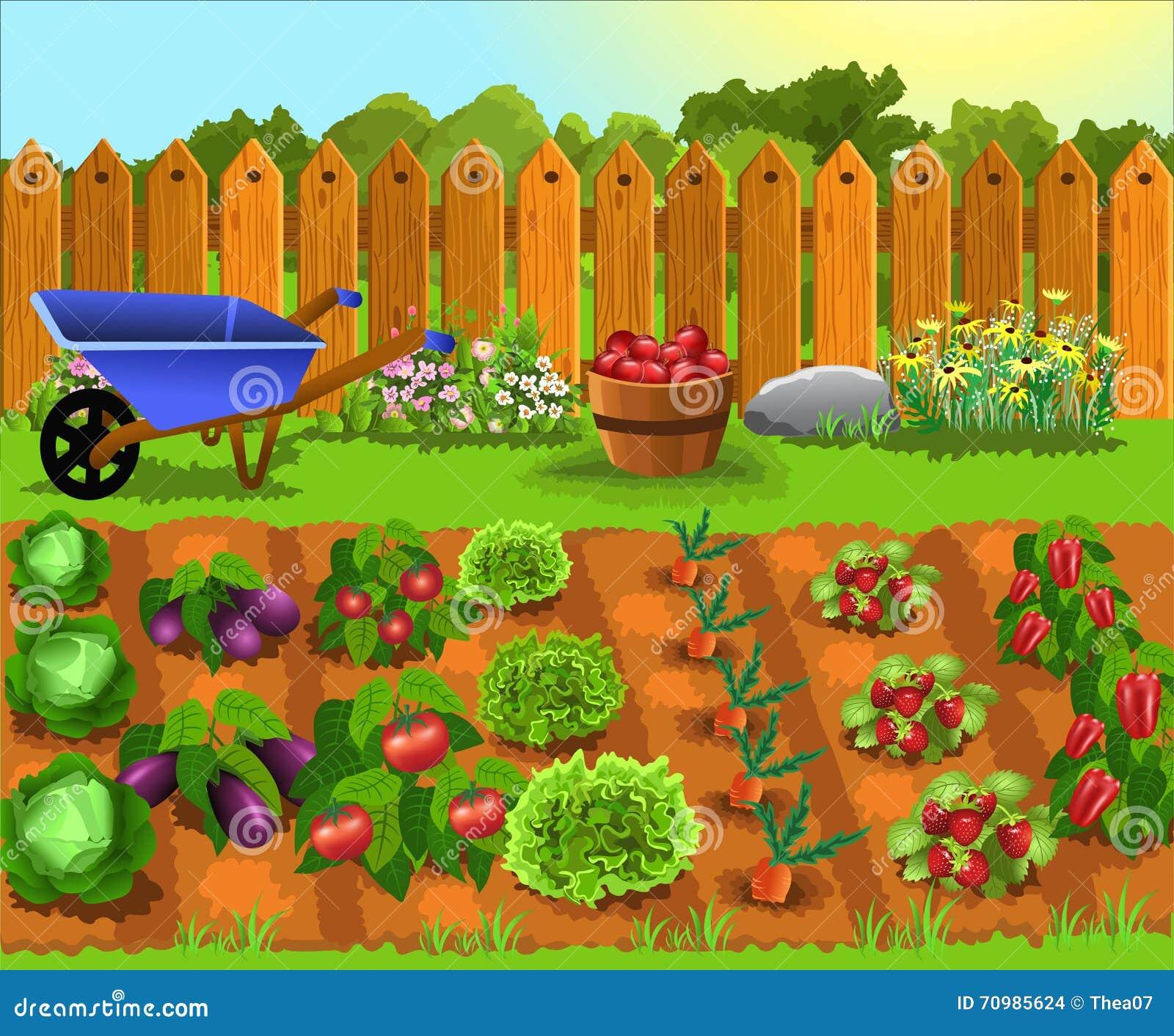 Jardín de la historieta con las frutas y verduras