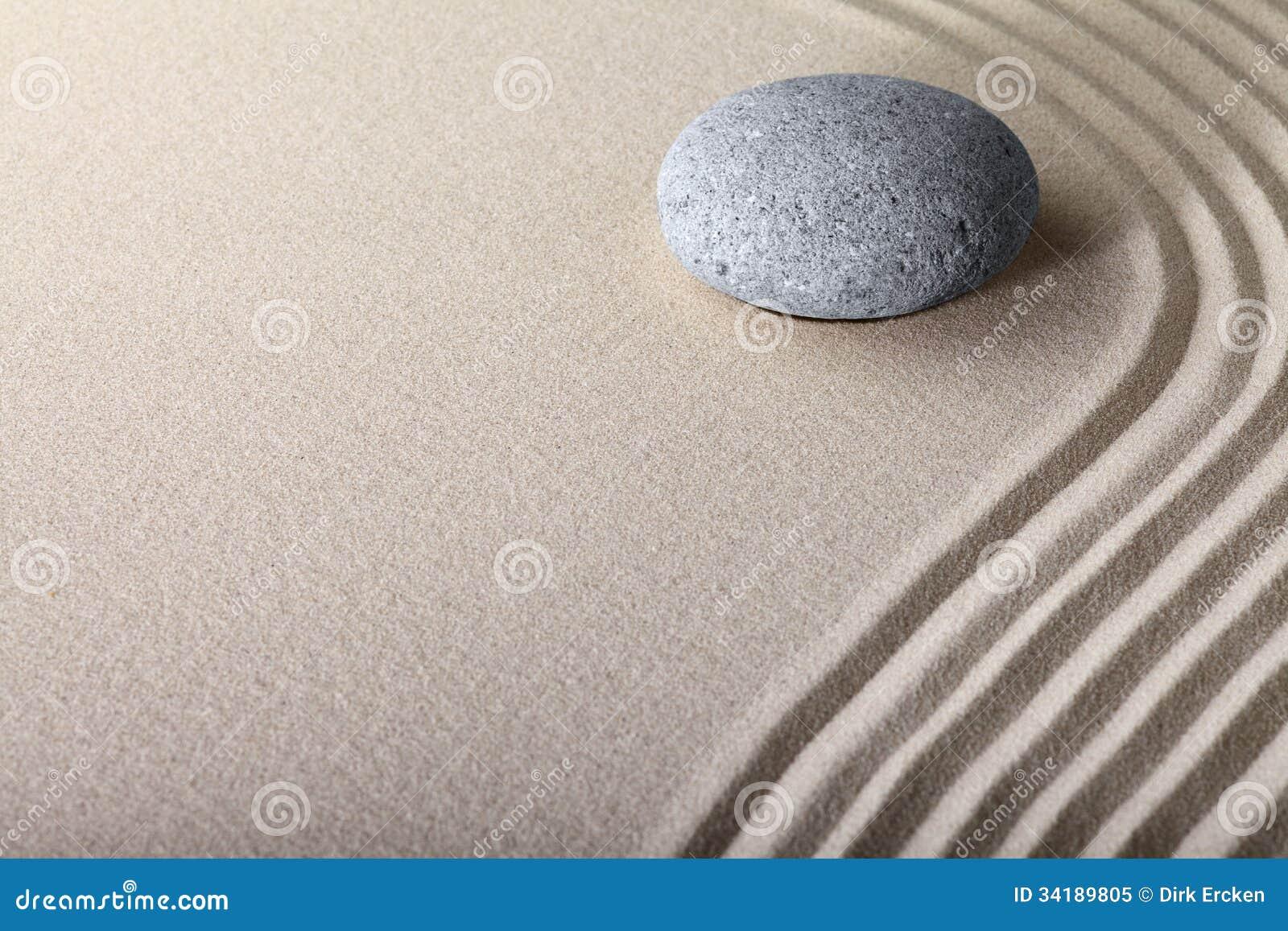 Jardín del balneario de la meditación de la piedra de la arena del zen
