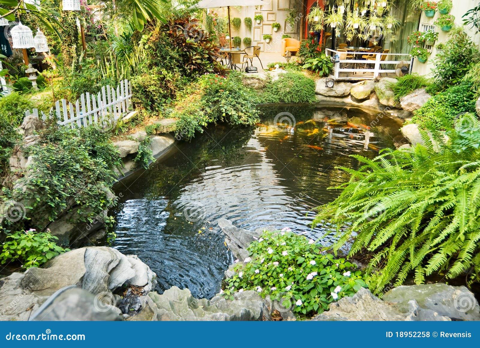 Jard n hermoso con las carpas japonesas en la piscina foto for Jardines con piscinas desmontables