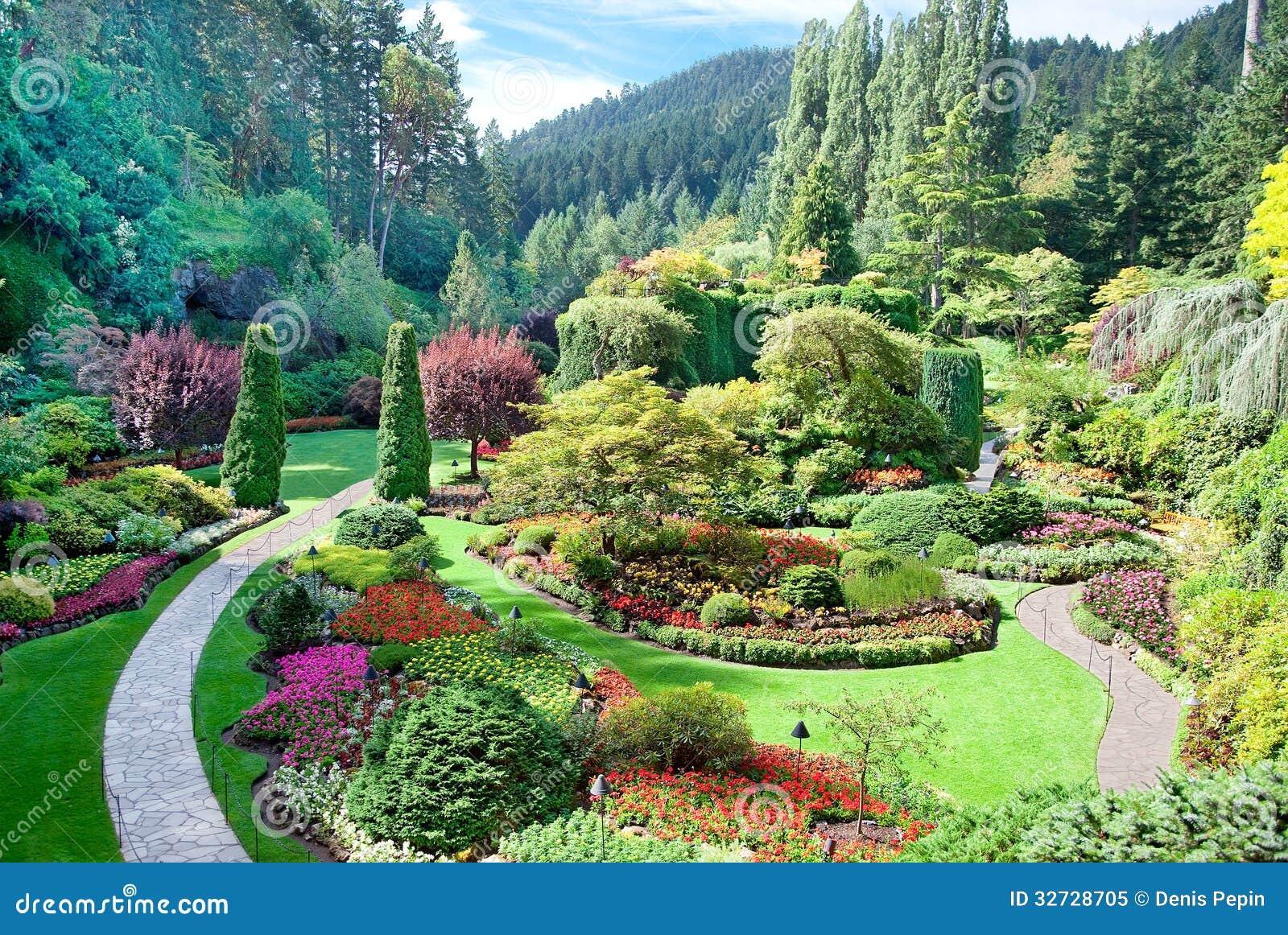 Jardín hundido en los jardines de Butchart, Saanich central, británicos Colu