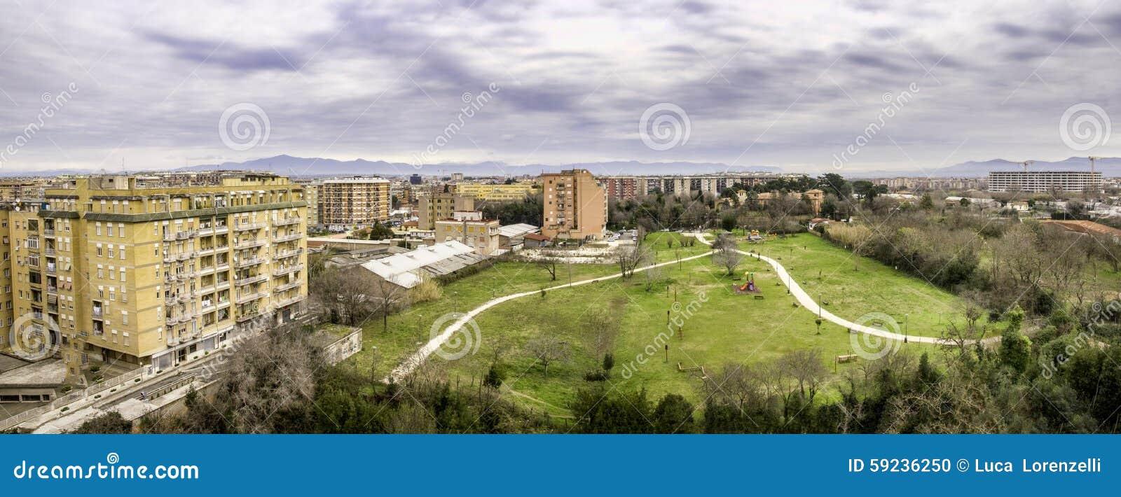 Download Jardín Público De La Visión Aérea Y Suburbio De La Vivienda De Roma Foto de archivo - Imagen de italia, paisaje: 59236250