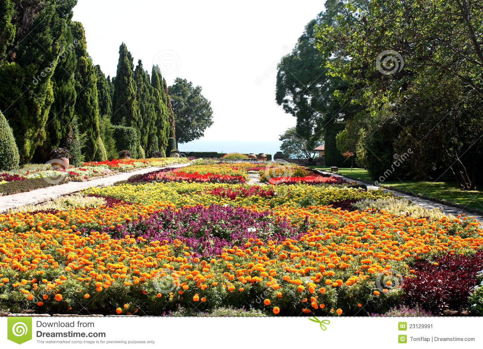 flores jardim do mar:Jardim botânico com flores e mar. Residência da rainha romena pelo