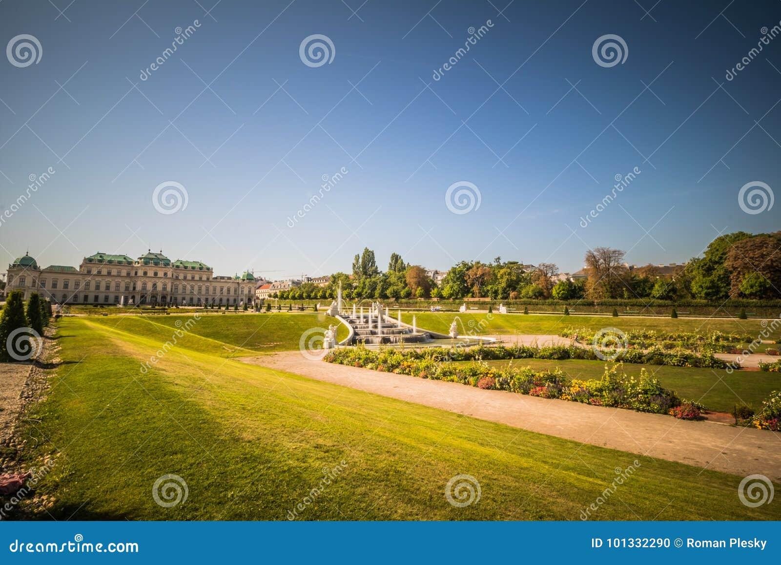 Jardim do palácio do Belvedere em Viena, Áustria