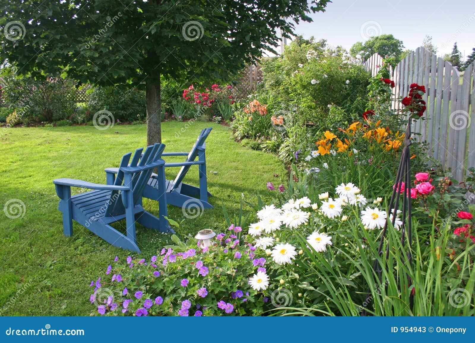 jardim quintal plantas:Jardim do quintal com as duas cadeiras de gramado.