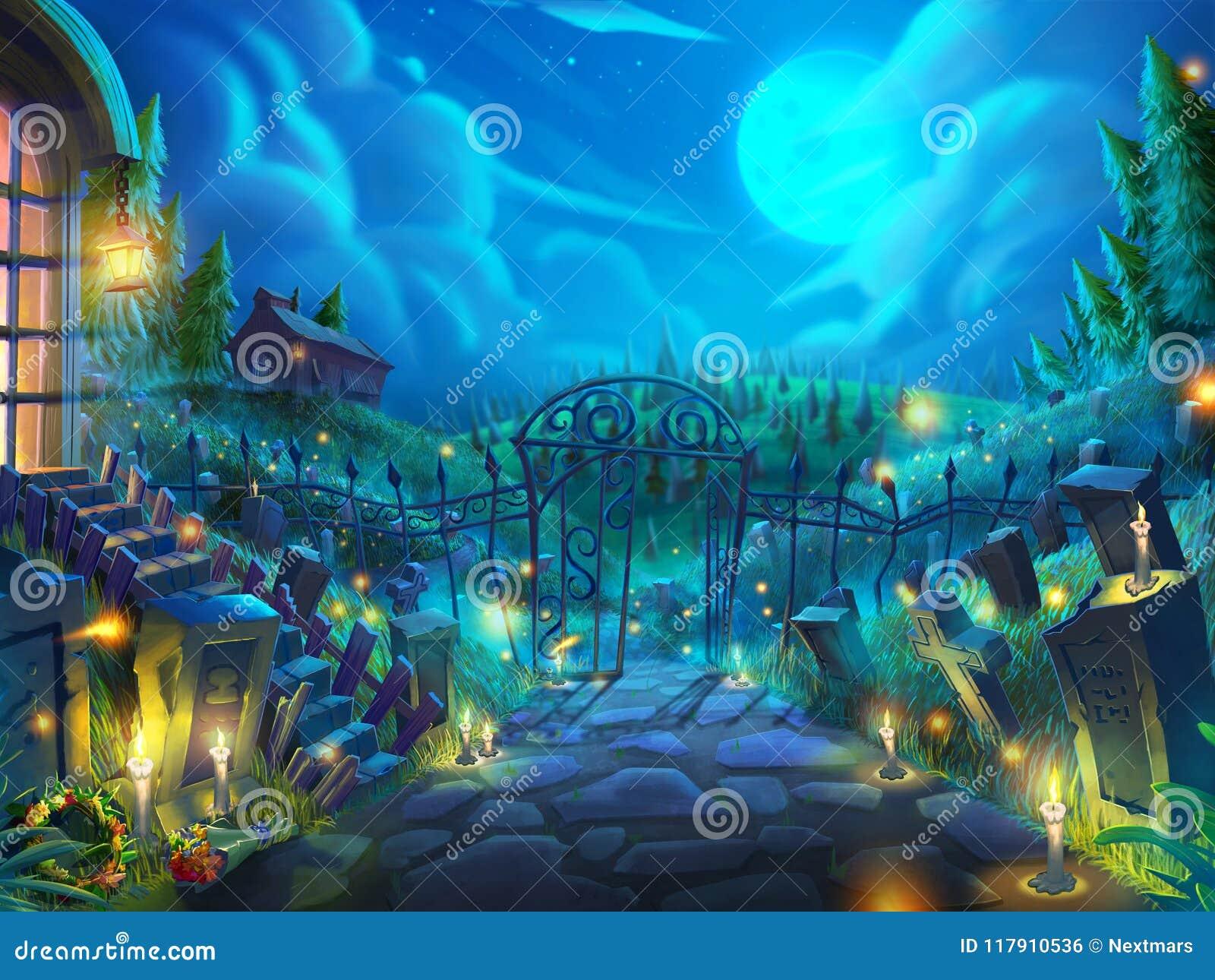 Jardim inoperante de Dia das Bruxas, cemitério do zombi na noite com fantástico