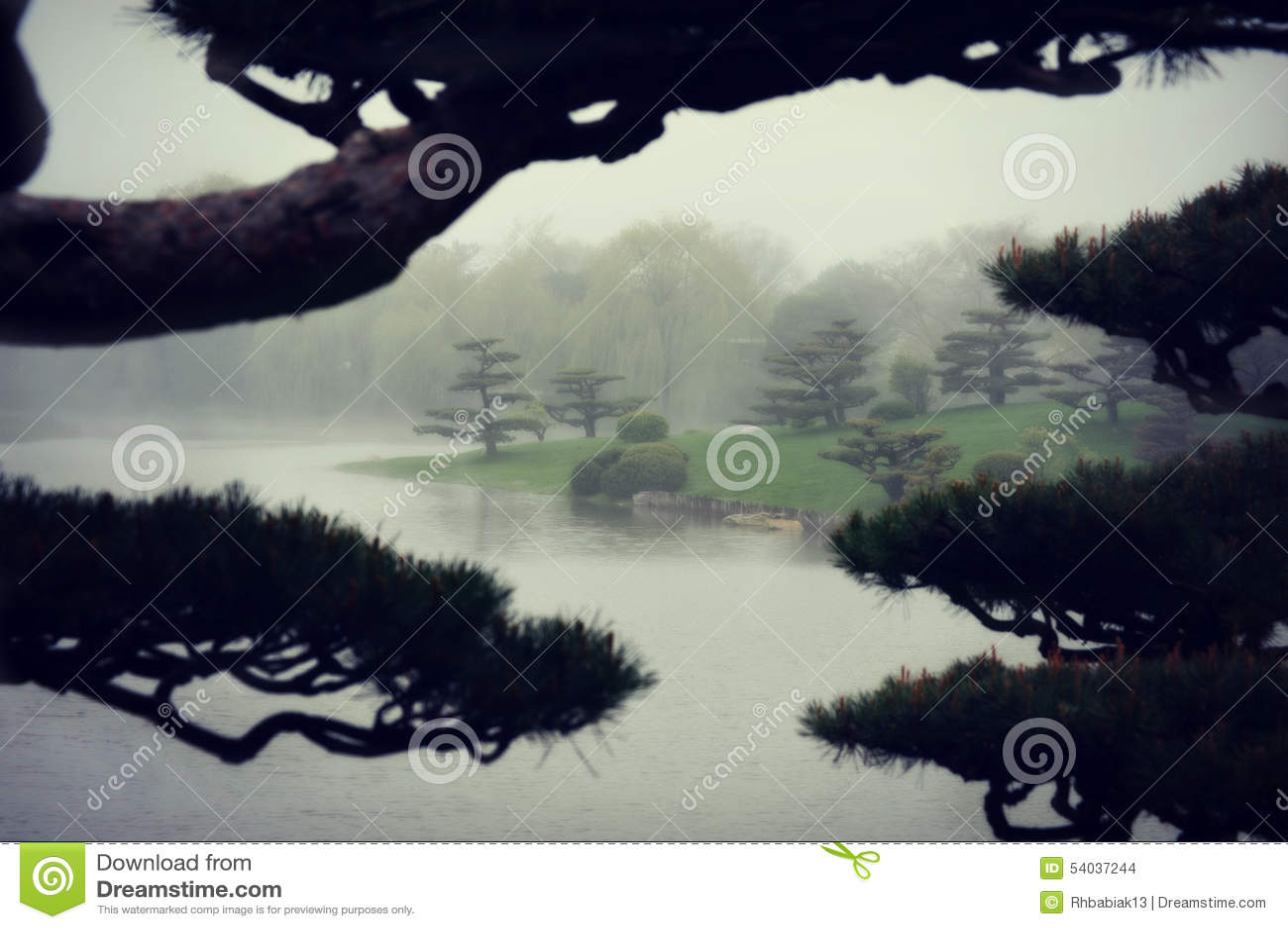 Jardim japonês nevoento