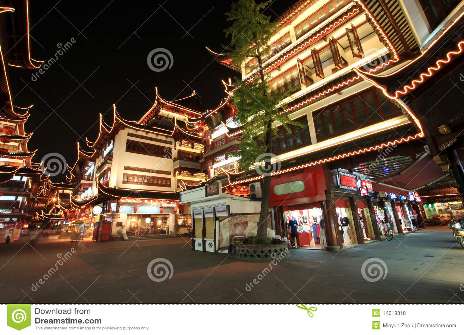 Jardim na noite, Shanghai de Yuyuan, China