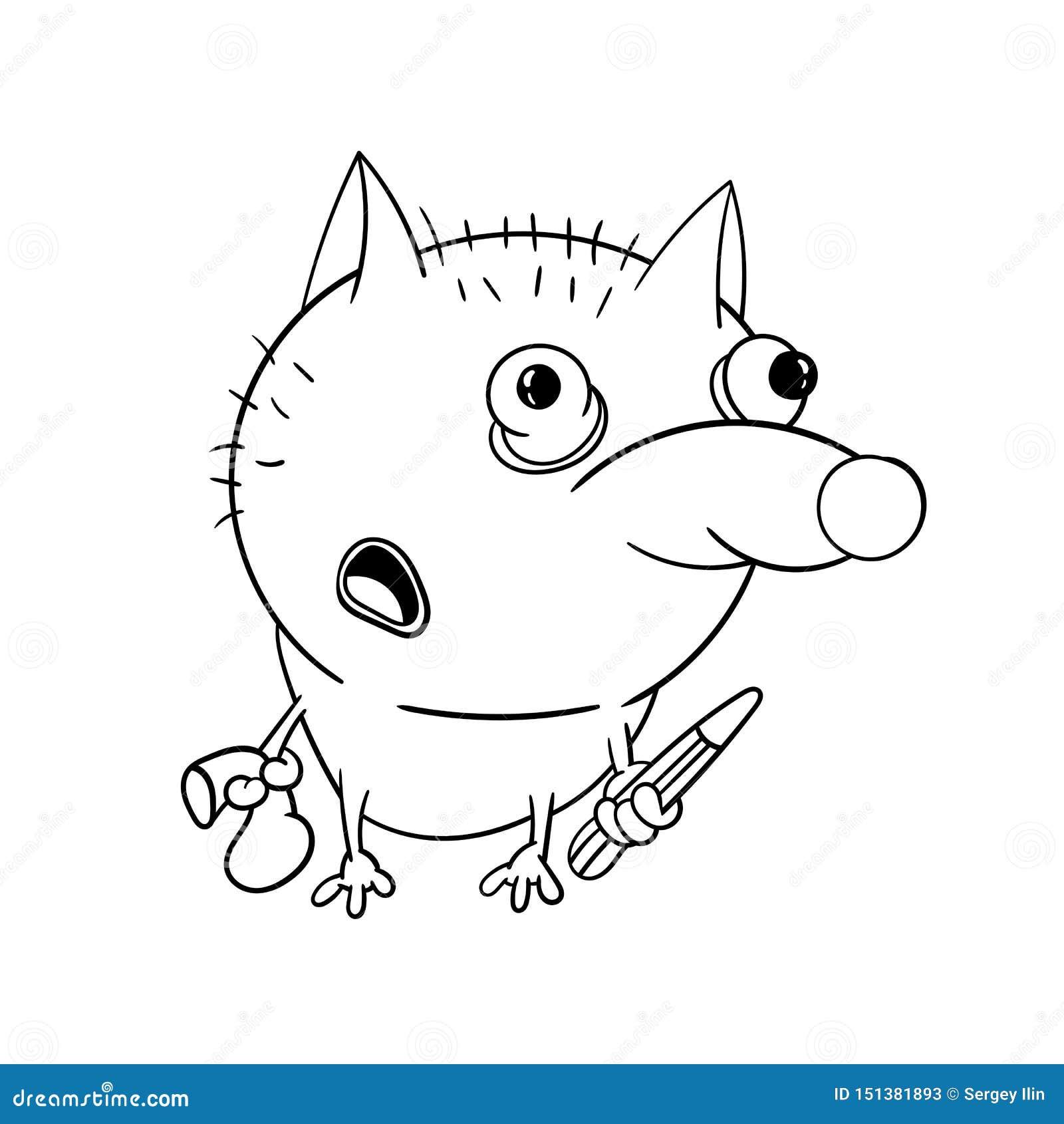 Jardim zool?gico do divertimento Lobo bonito com um lápis Ilustra??o do vetor Livro para colorir para crian?as