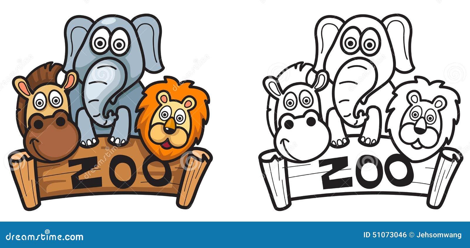 Desenho De Animais Do Zoológico Reunidos Para Colorir: Jardim Zoológico Colorido E Preto E Branco Para O Livro
