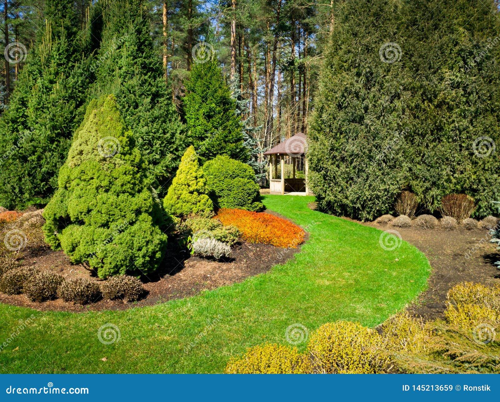 Jardin Aménagé En Parc Avec Les Conifères Et La Tonnelle ...