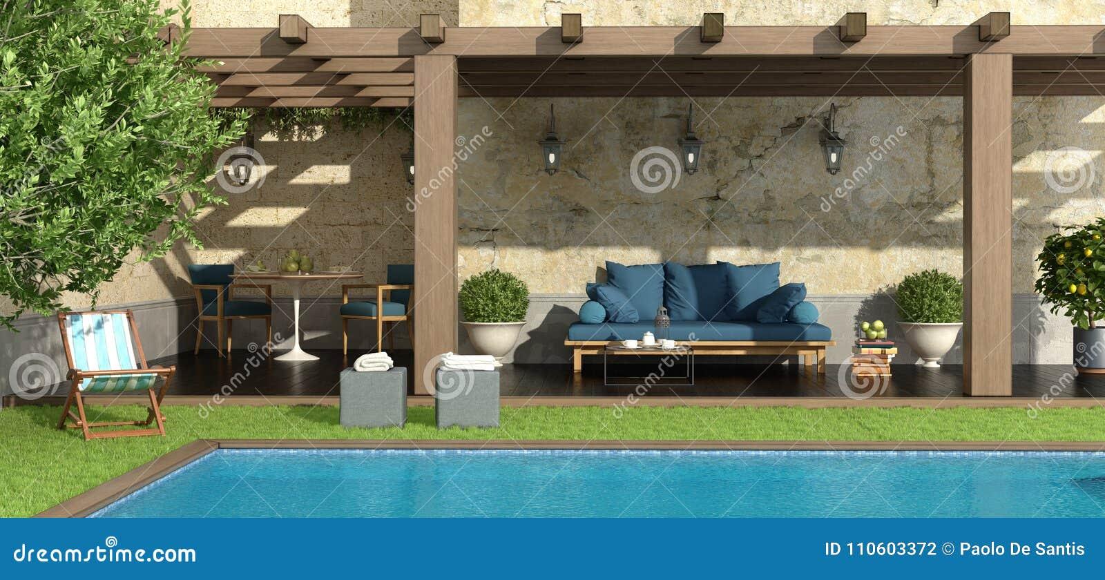 Jardin avec la pergola et la piscine illustration stock illustration du herbe rustique 110603372 - Pergola piscine ...
