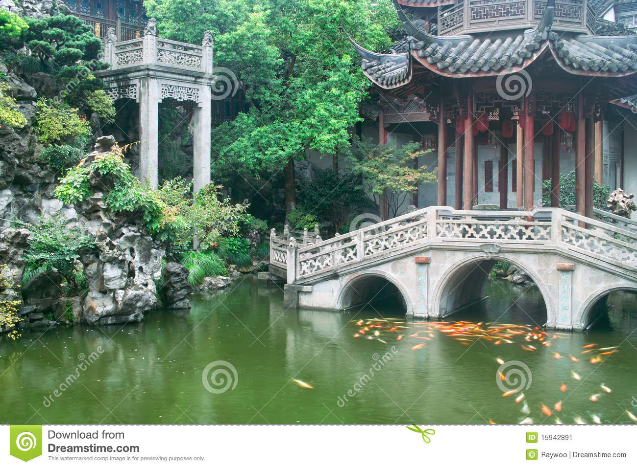 Jardin chinois de type traditionnel image stock image for Jardin chinois
