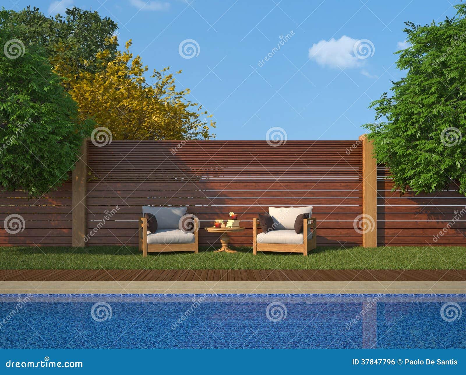 Jardin de luxe avec la piscine image libre de droits for Jardin 200m2 avec piscine