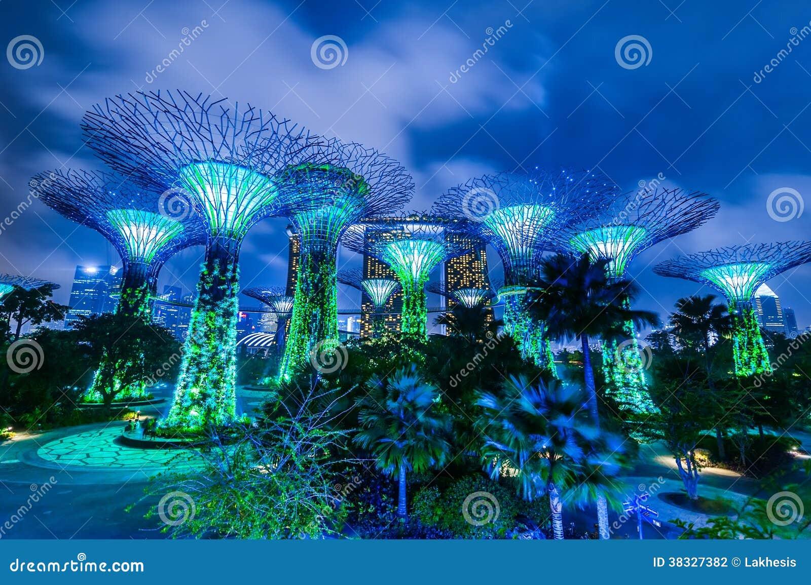 Jardin de singapour par la vue de nuit de baie photographie ditorial image du avatar soir e - Par vue de jardin ...