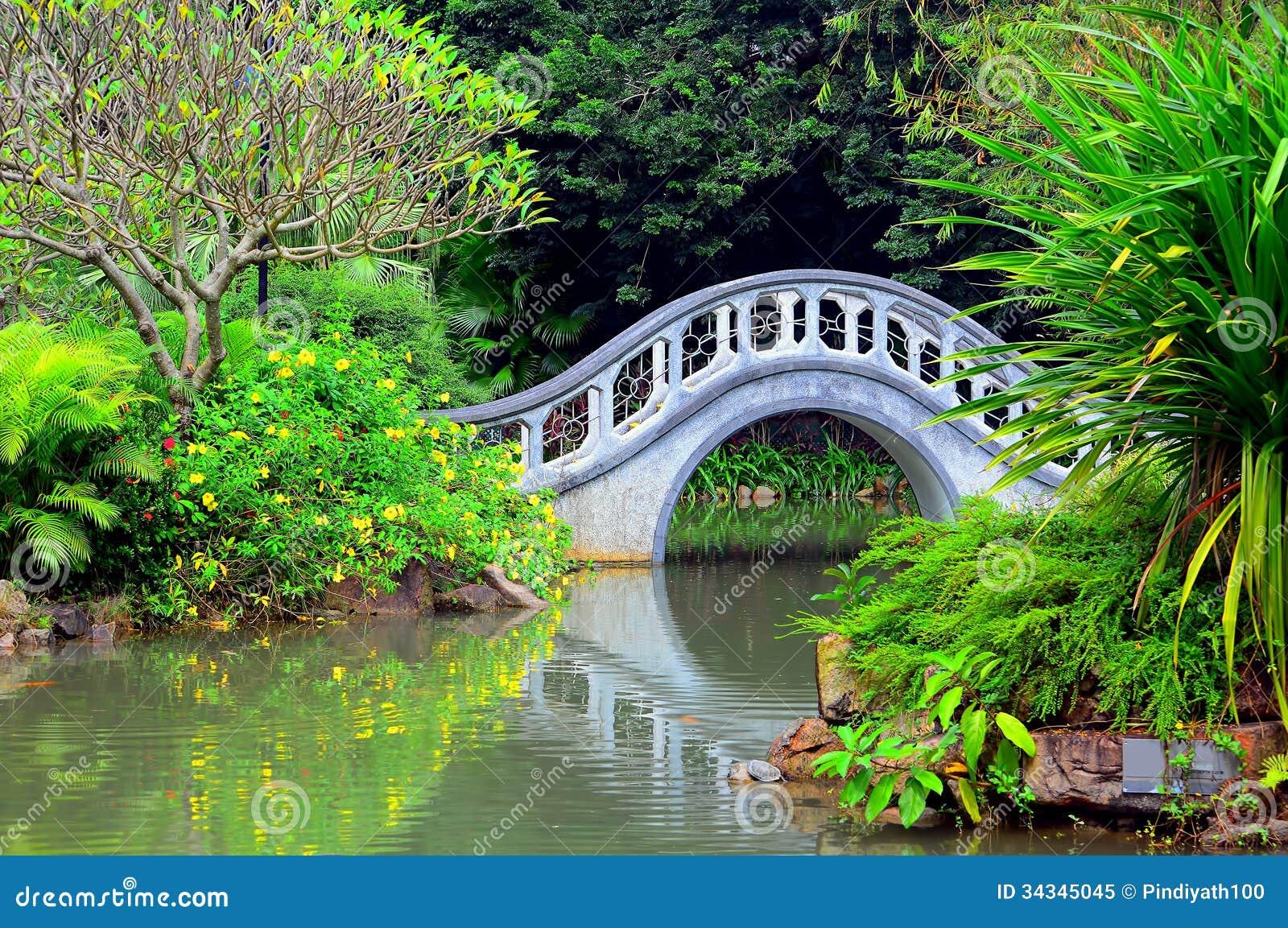 Jardin de zen avec le pont de forme de vo te image stock for Pont jardin zen
