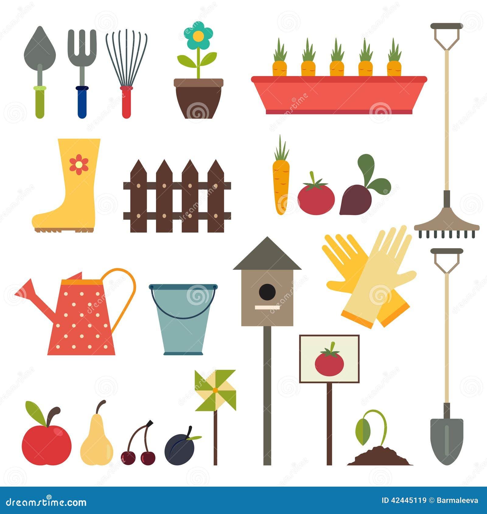 Jardin et ensemble d 39 ic ne d 39 outils de jardinage d for Jardin et jardinage