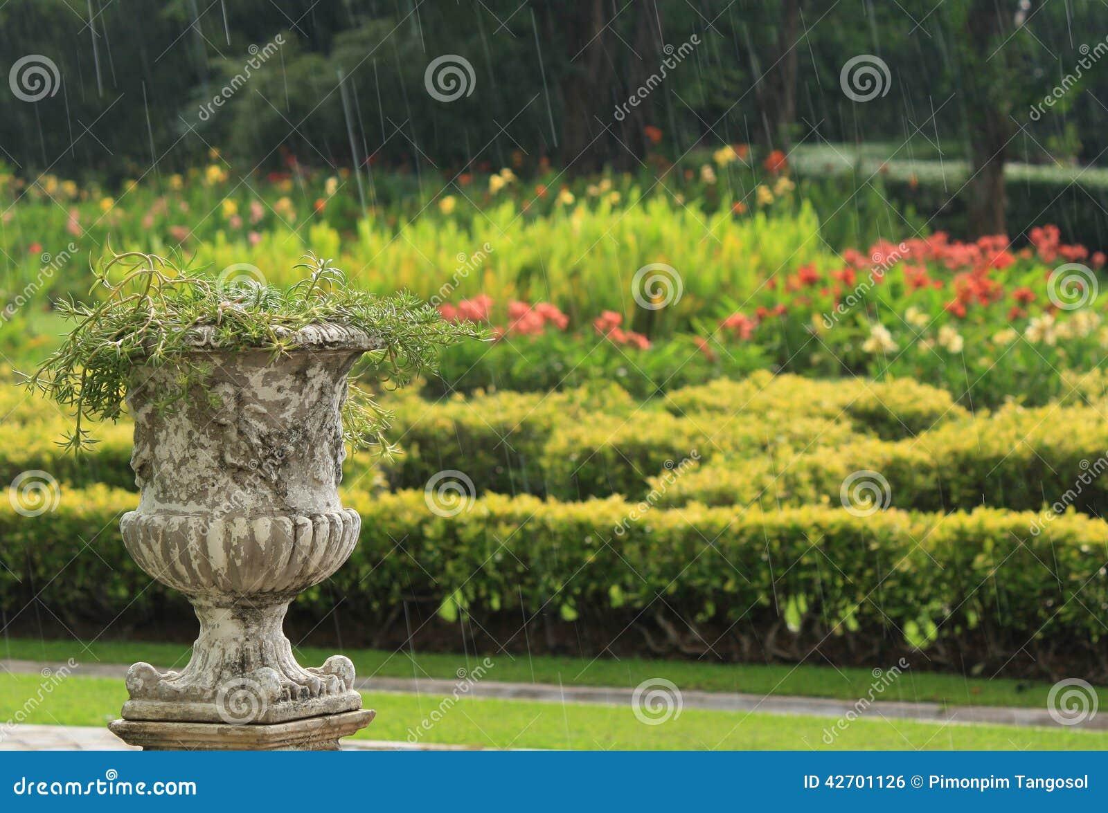 jardin ext rieur et le pot de fleurs sous la pluie photo stock image du couleur normal 42701126. Black Bedroom Furniture Sets. Home Design Ideas