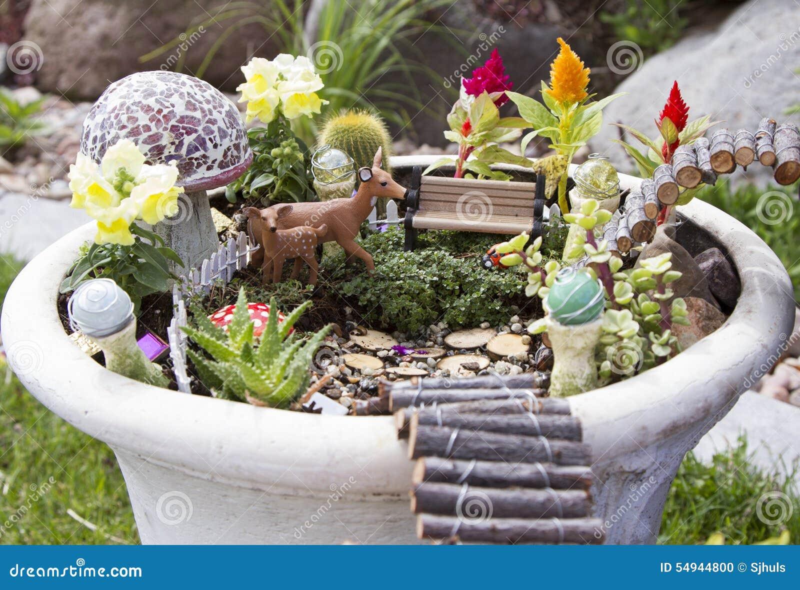 Jardin f erique dans un pot de fleur dehors photo stock for Jardin f
