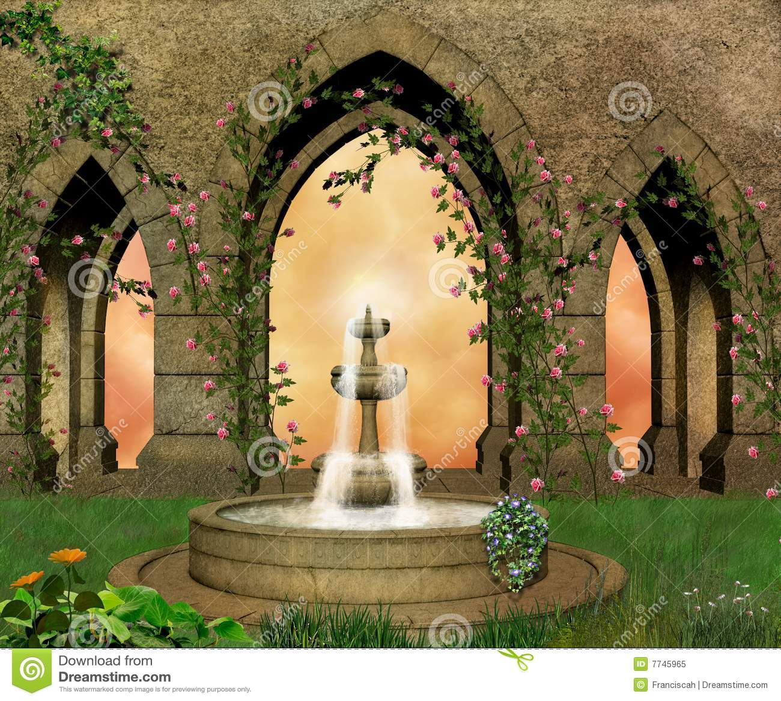 Jardin fantastique de château
