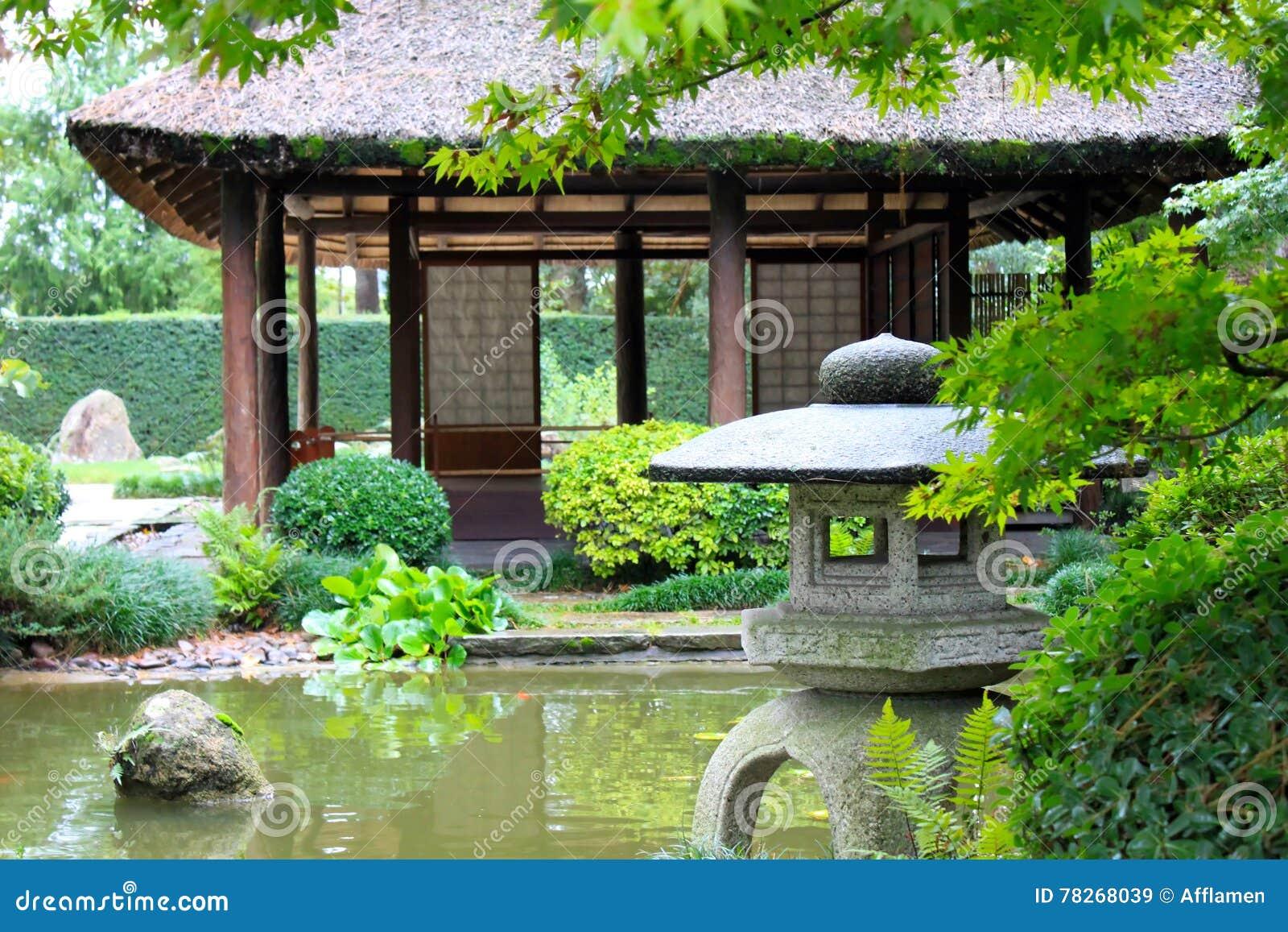 Jardin Japonais A Montevideo Image Stock Image Du Chaume Maison