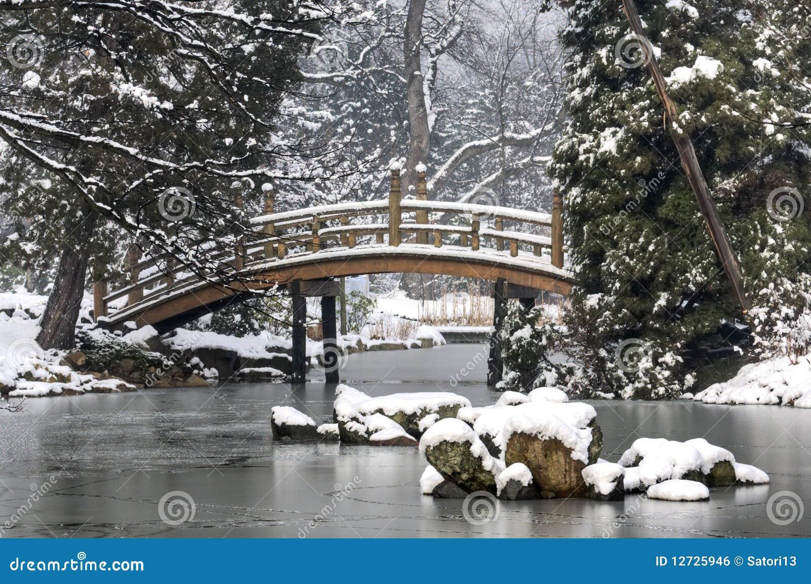 Jardin japonais en hiver image libre de droits image for Jardin anglais en hiver