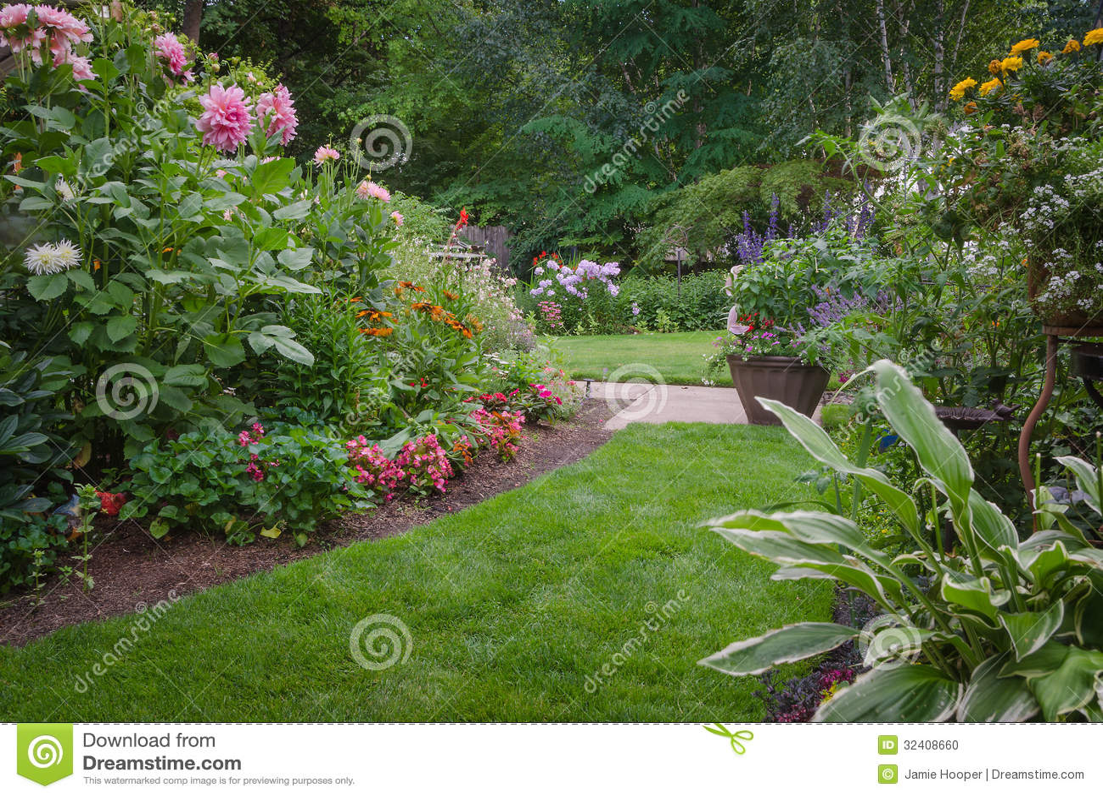 Jardin luxuriant d 39 arri re cour photo stock image 32408660 for Jardin etroit