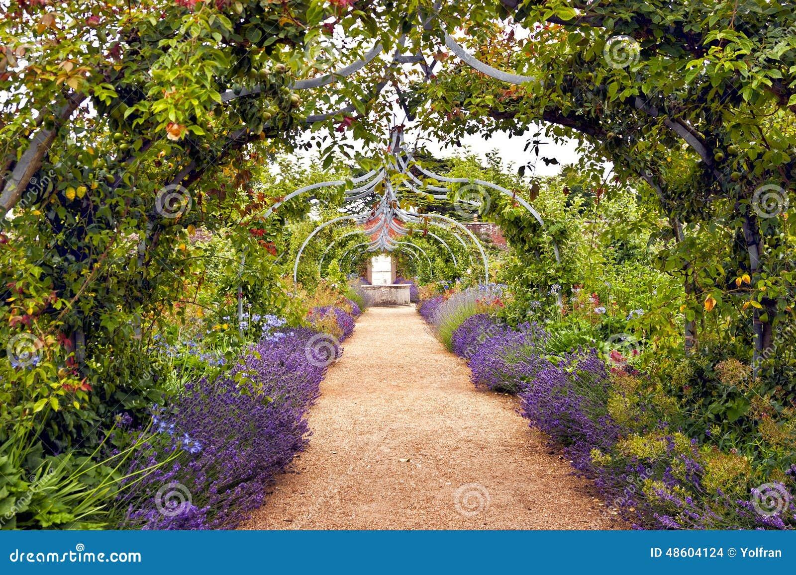 Jardin romantique compl tement des fleurs en fleur photo for Jardin de fleurs a couper