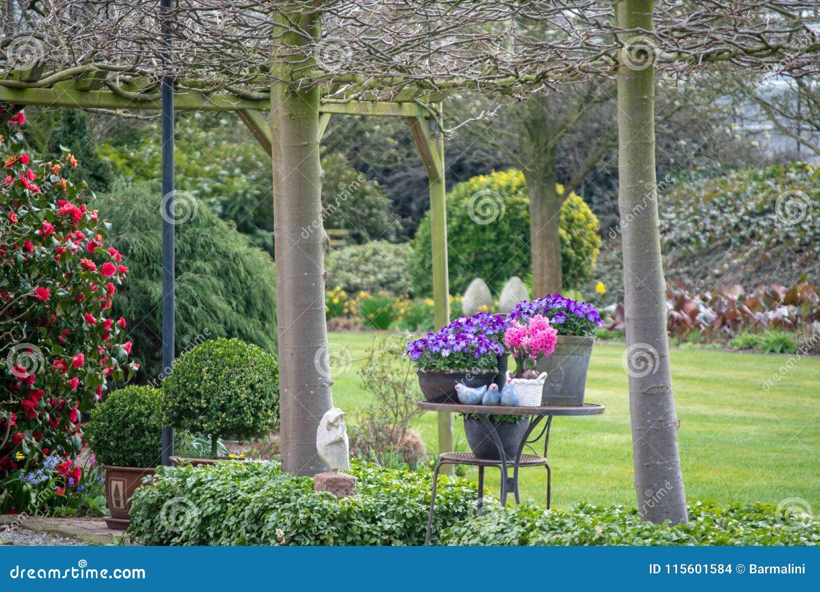 Jardin rural de ressort de style campagnard avec les fleurs colorées, cutted