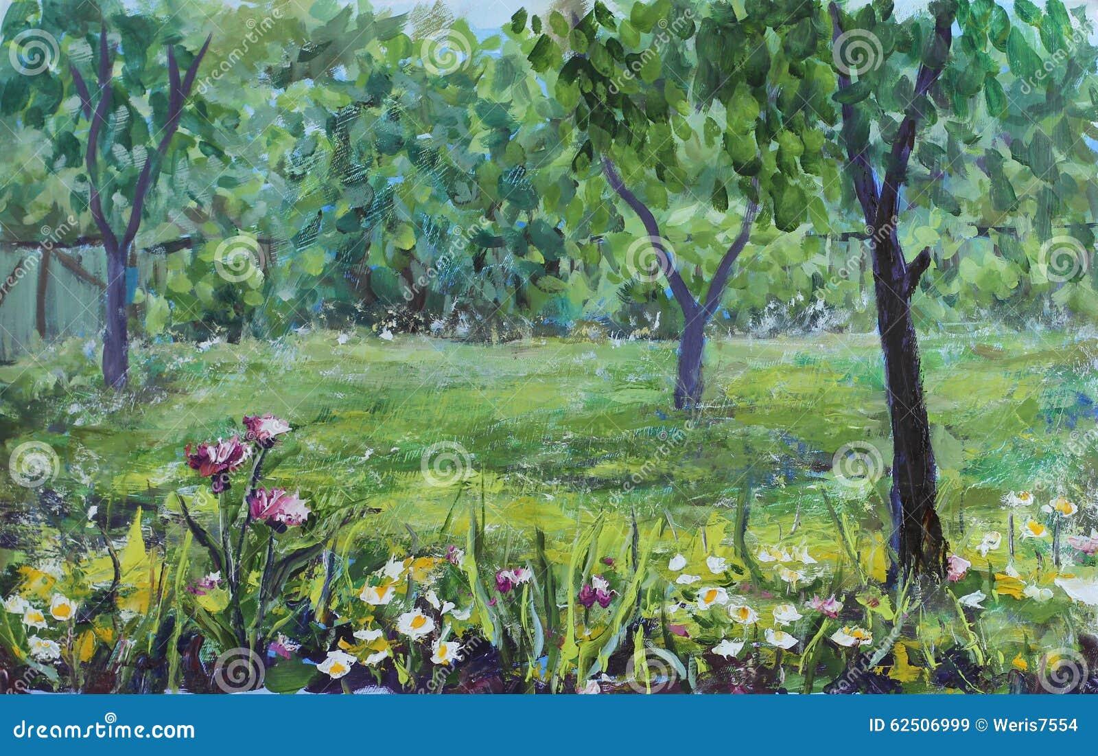 jardin rustique d 39 t arbres fleurs barri re peinture l 39 huile illustration stock image. Black Bedroom Furniture Sets. Home Design Ideas