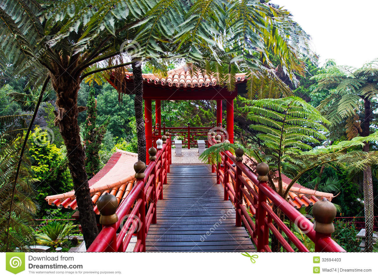 Jardin tropical dans le style japonais photos stock for Style japonnais