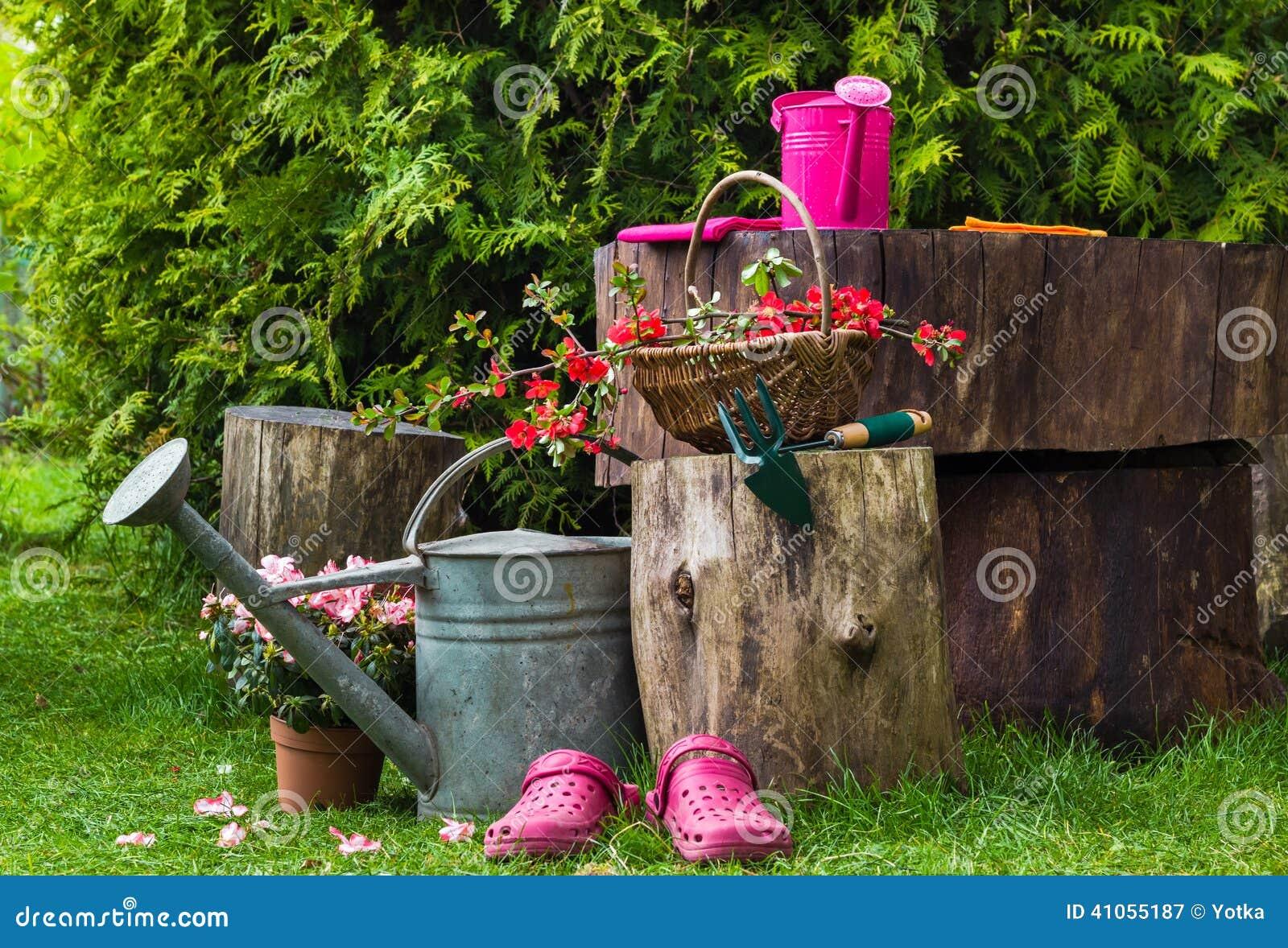 Jardinage d 39 ustensiles d 39 outils de jardin de ressort photo stock image 41055187 - Ratelier outils de jardin ...